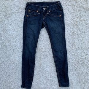 TRUE RELIGION DARK WASH SKINNY JEANS